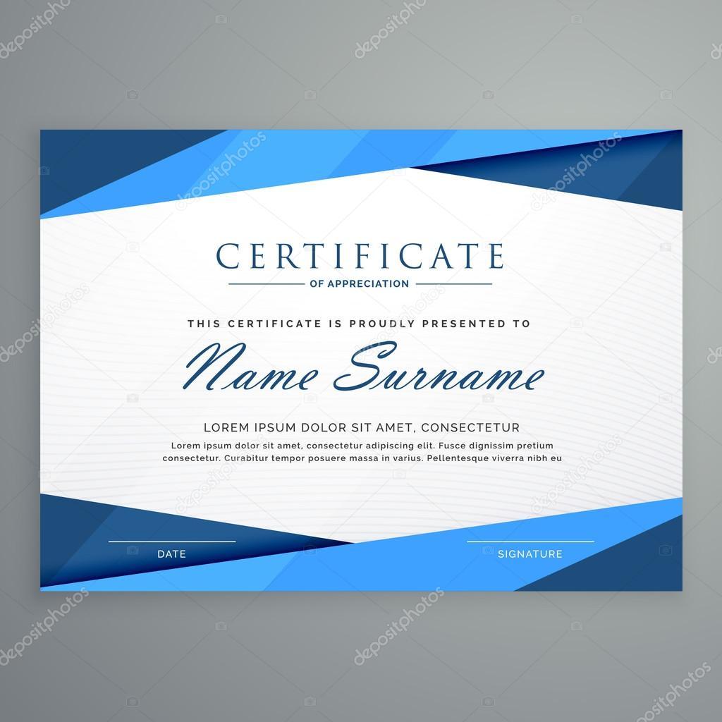 modernes blaues Dreieck Zertifikatvorlage — Stockvektor © StarLine ...
