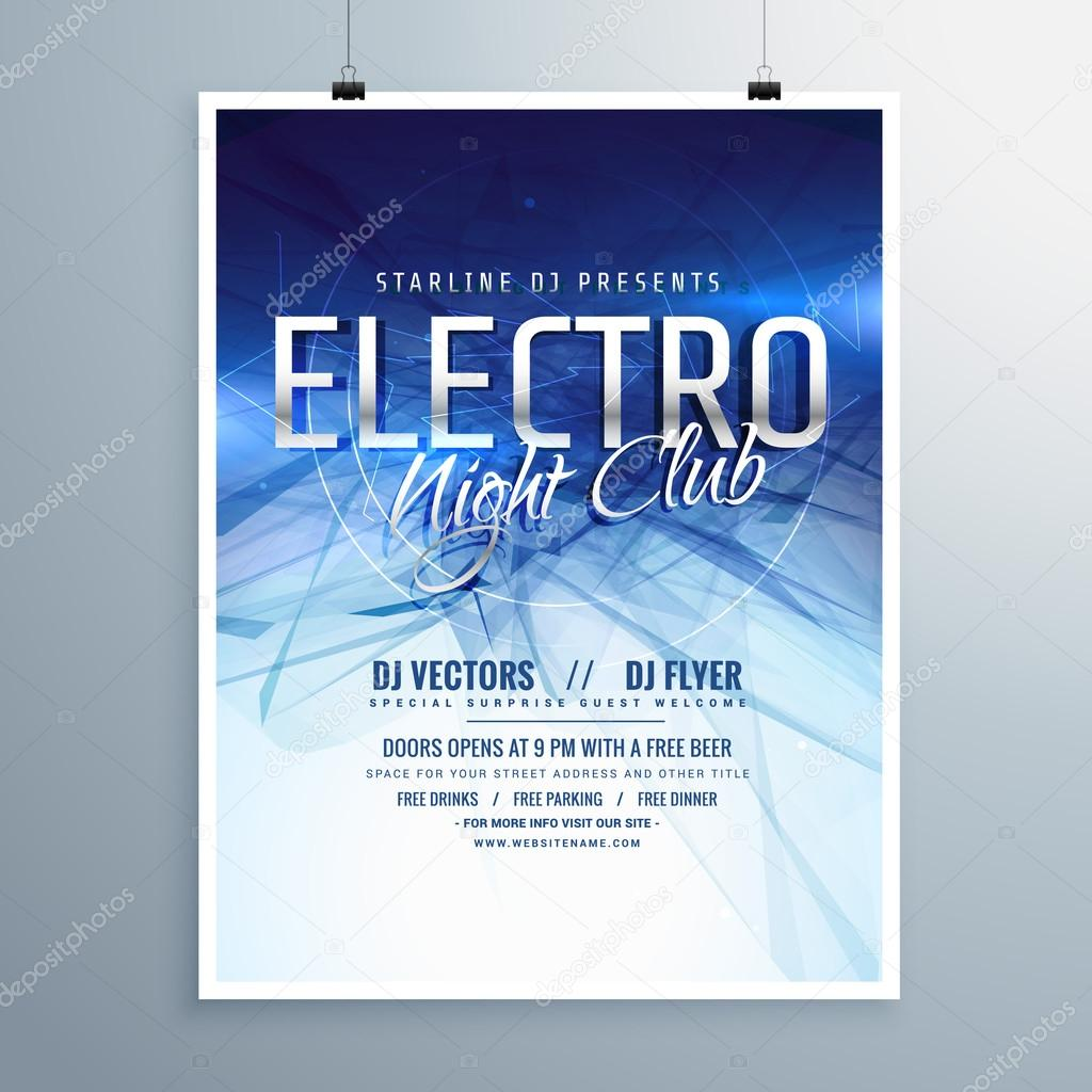 Electro Night Club Party Flyer Poster Template Stock Vector
