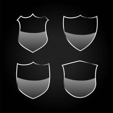 Metallic black shield or badges icons set icon