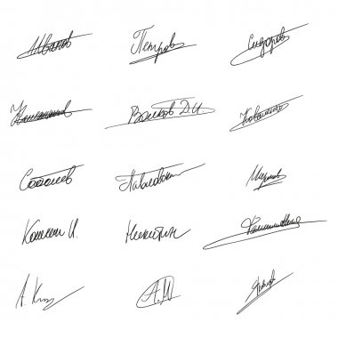 Hand Written Russian Signatures.