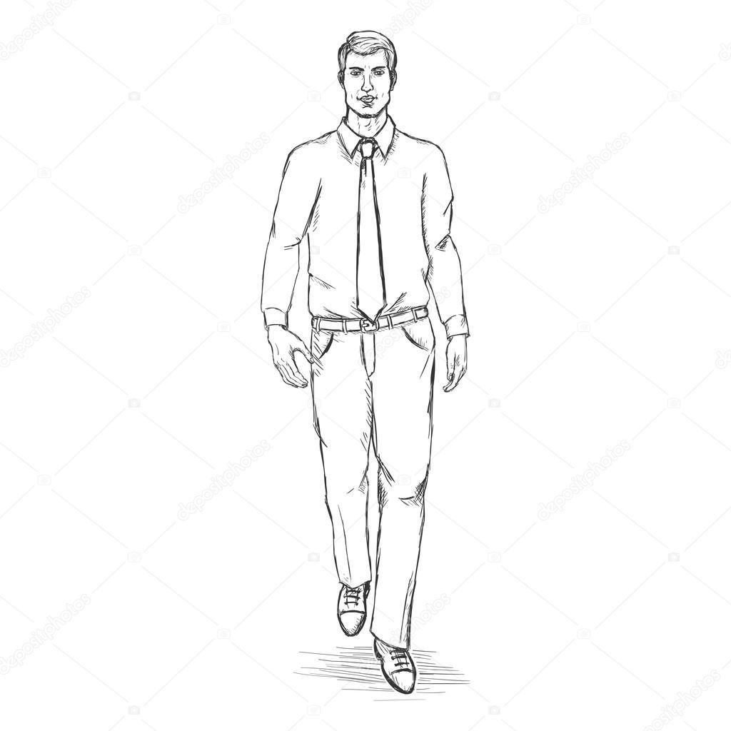 Vector sketch man model stock vector
