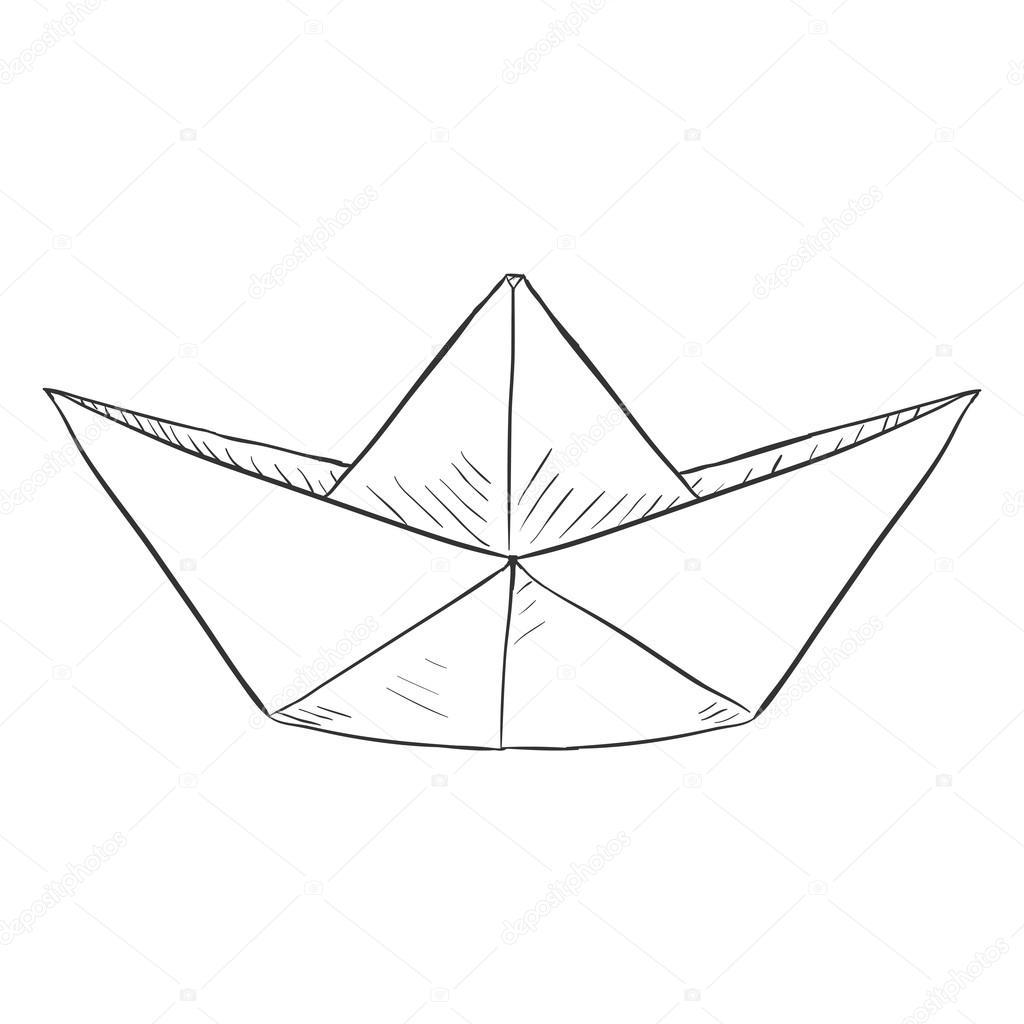 Single Sketch Paper Boat Traditional Origami Shi Vector Illustration By Nikiteev
