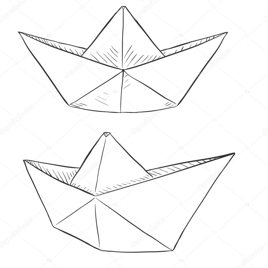 Set Of Sketch Paper Boats Traditional Origami Ships Vector Illustration By Nikiteev