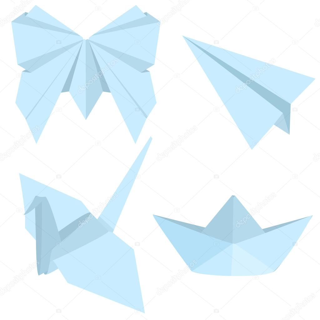 Set of blue origami objects stock vector nikiteev 112700546 set of blue origami objects stock vector 112700546 jeuxipadfo Choice Image