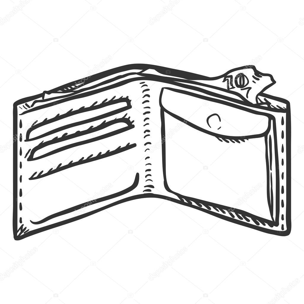 sketch of leather wallet � stock vector 169 nikiteev 119420660