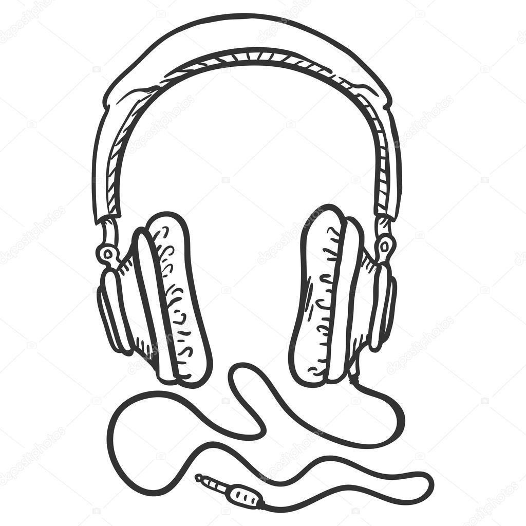 Skizze des ohrumschließende Kopfhörer — Stockvektor © nikiteev ...