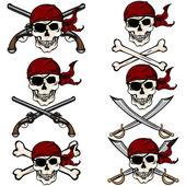 Pirátské lebky v červený šátek