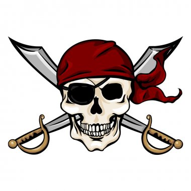 Pirate Skull in Red Bandana with Cross Swords