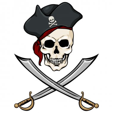 Pirate Skull in Tricorn with Cross Swords