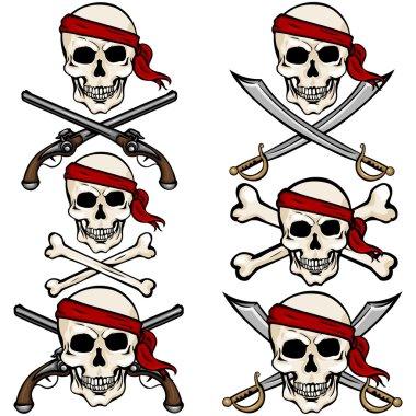 Pirate Skulls in Red Headband