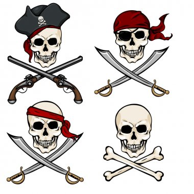 Cartoon Pirate Skulls