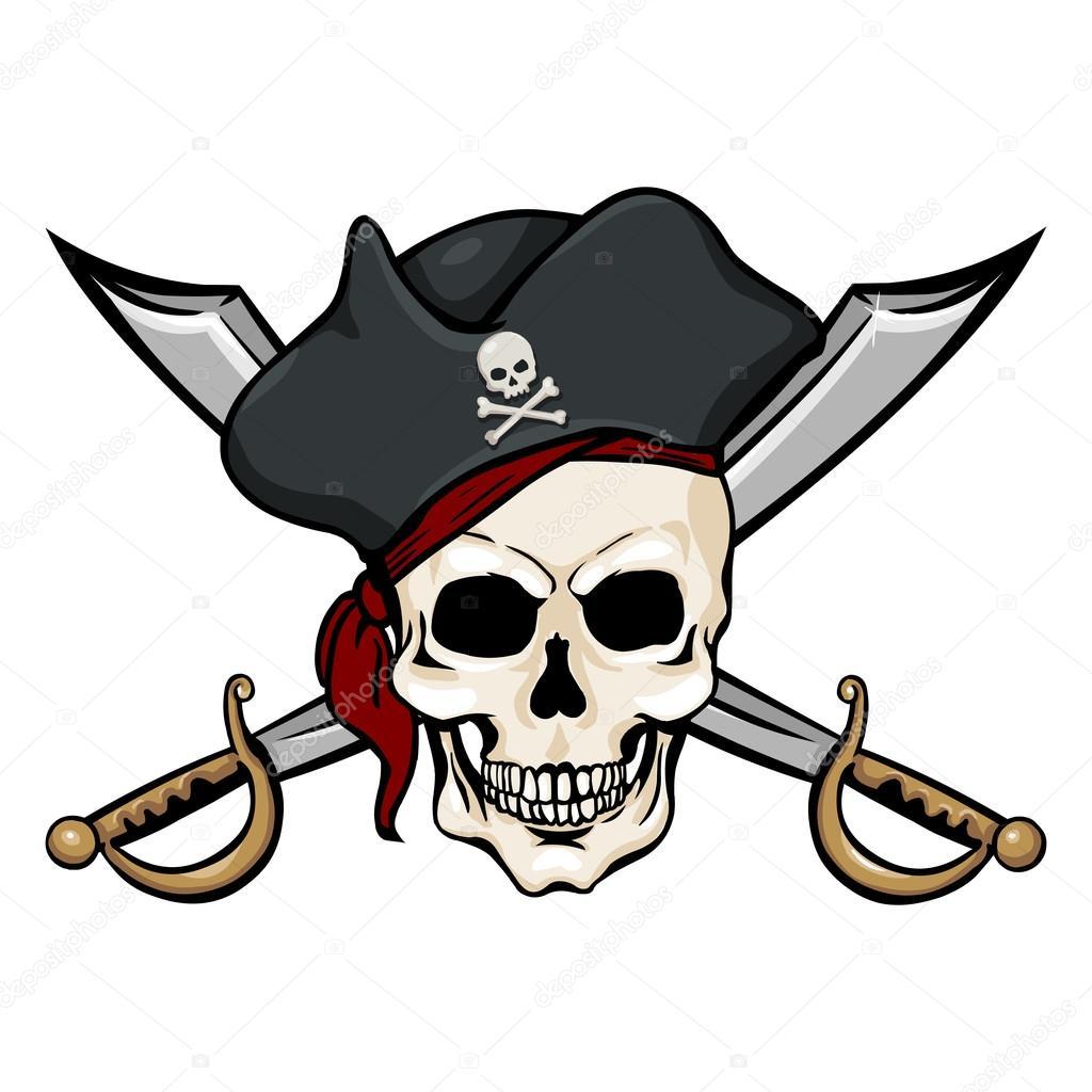 Calavera Pirata En Tricorne Con Cruzar Espadas Vector De Stock