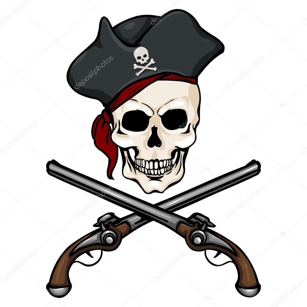 Imágenes Calaveras Con Armas Animadas Calavera Pirata En Tricorne