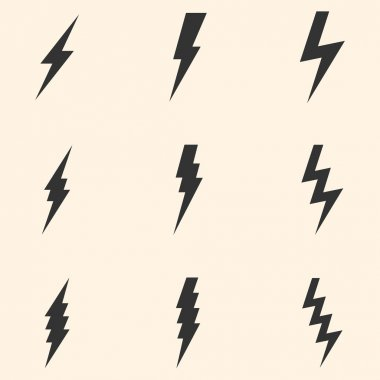 Vector Set of Thunder Lighting Icons