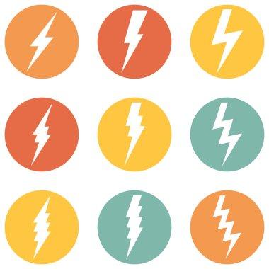 Vector Set of Thunder Lighting Icons