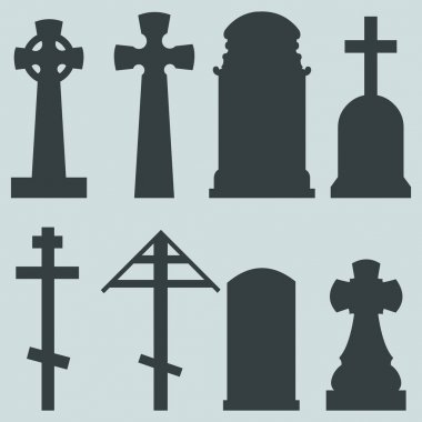 Vector Set of Silhouette Tombstones stock vector