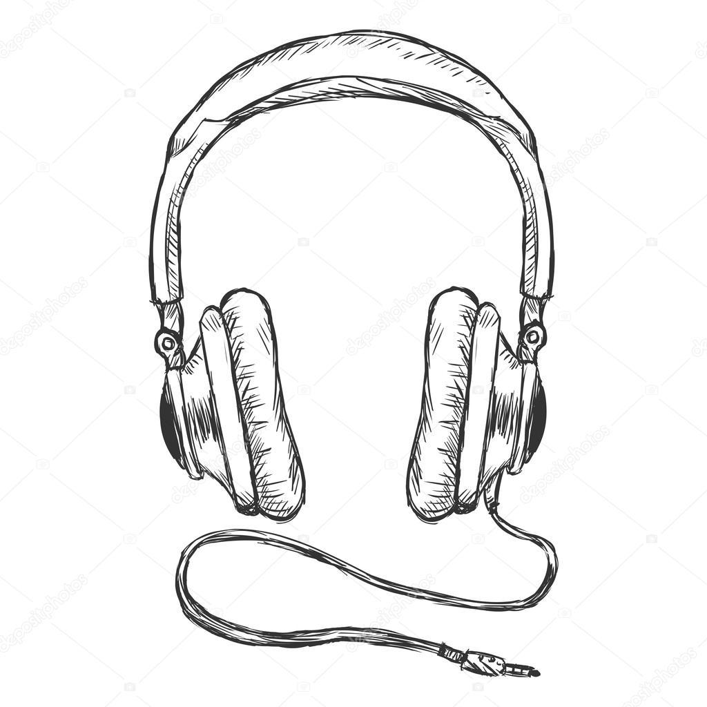 Circumaural Headphones With Wire Stock Vector Nikiteev
