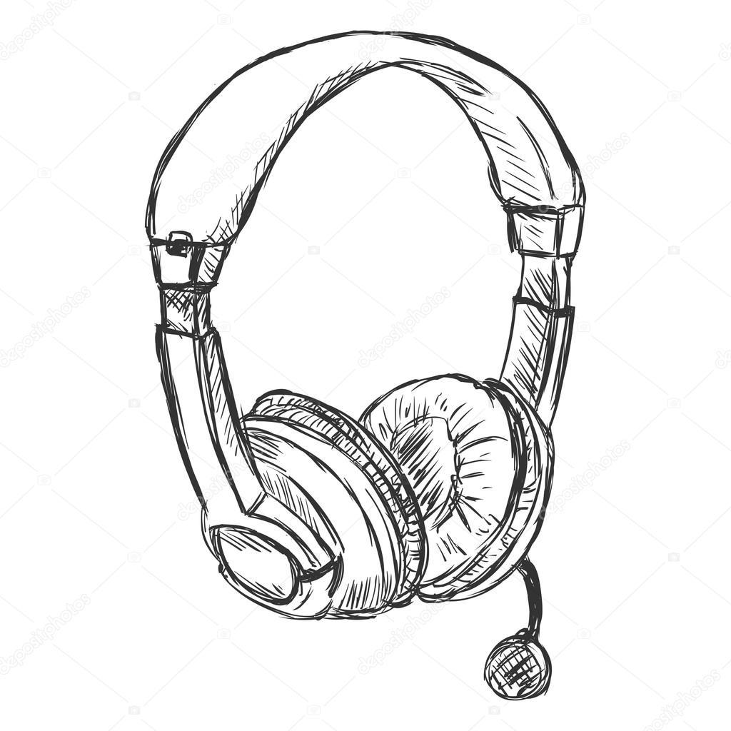 Circumaural Kopfhörer mit Mikrofon — Stockvektor © nikiteev #54702605
