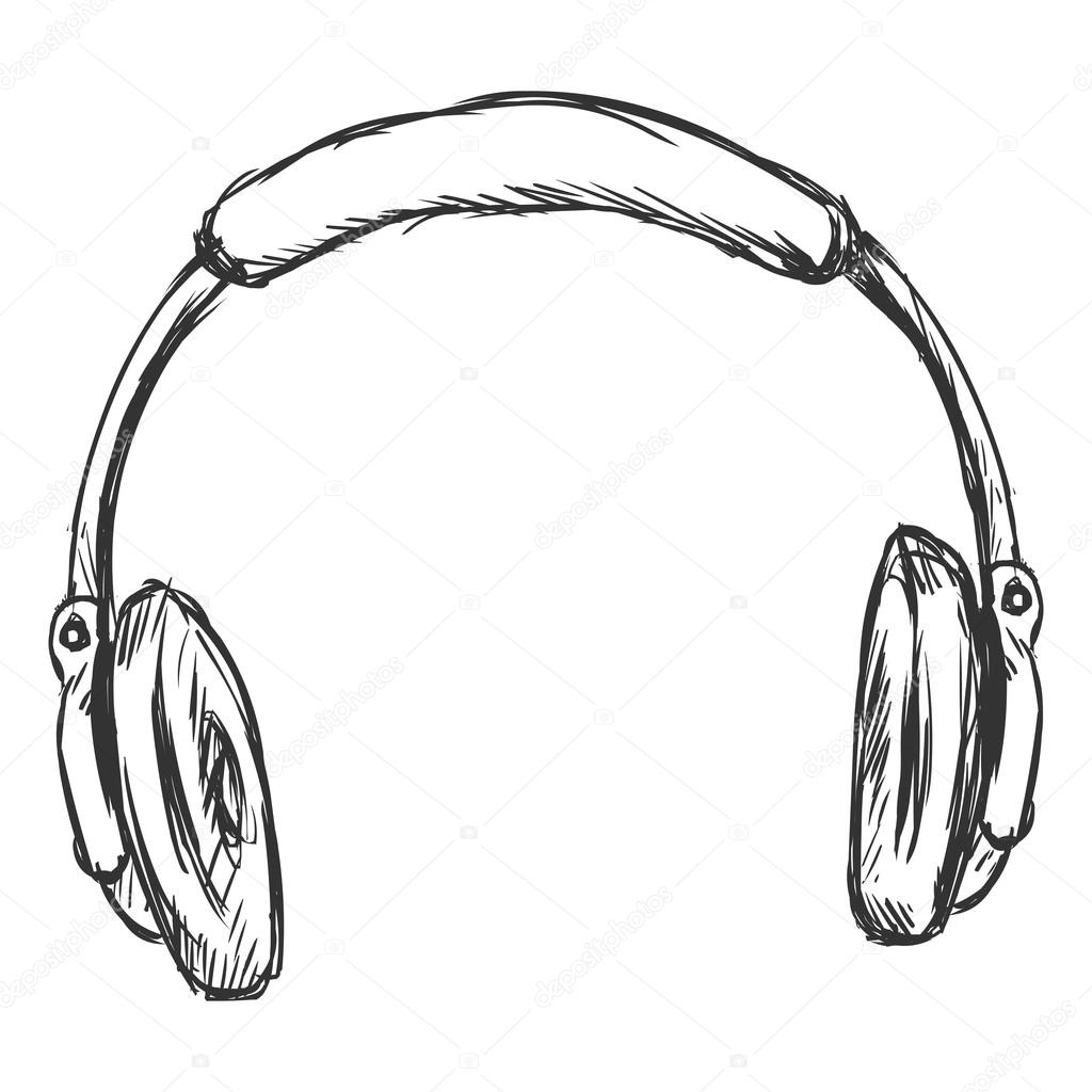 Skizze Circumaural Kopfhörer — Stockvektor © nikiteev #54702709