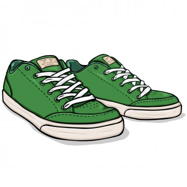 Vector Cartoon Green Skaters Shoes