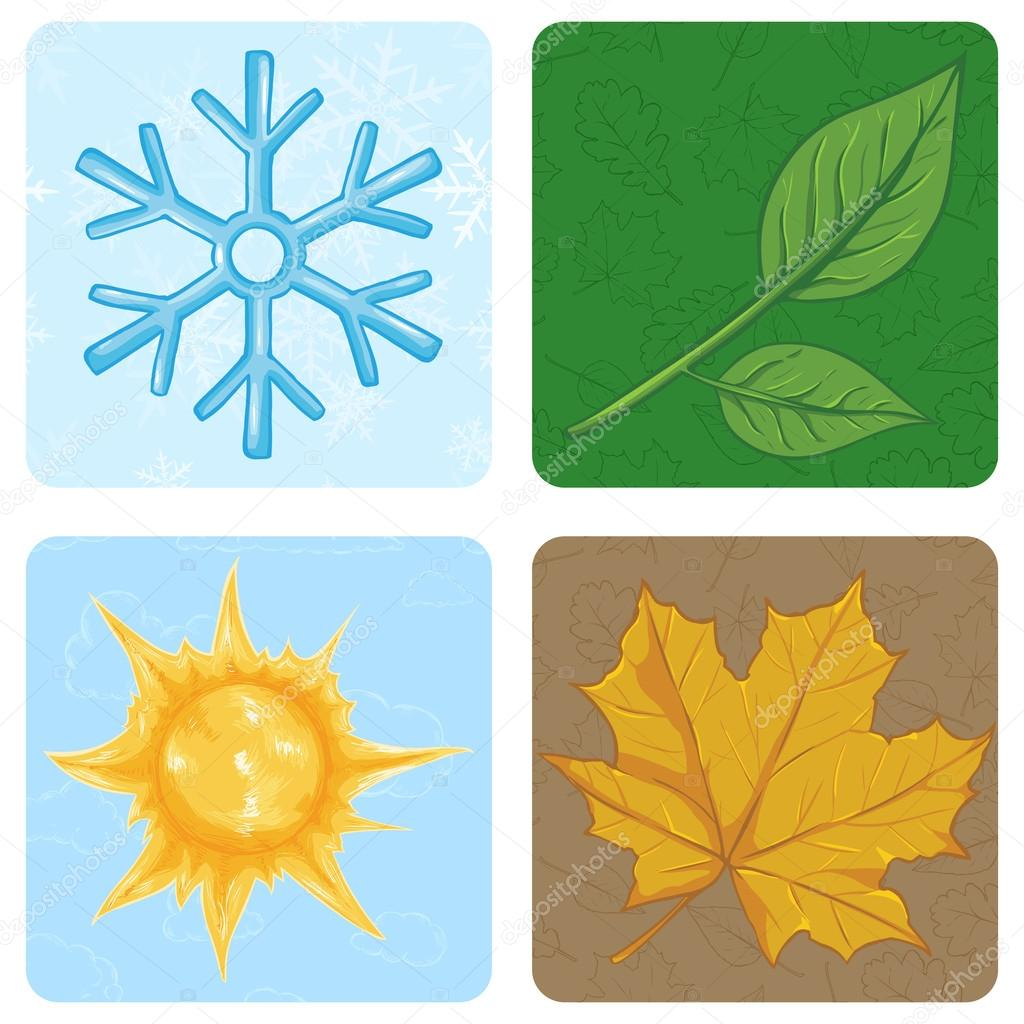 Set of Cartoon Square Season Icons.