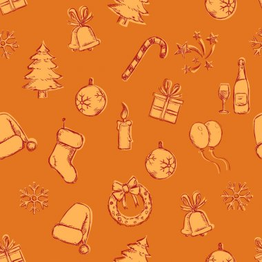 Seamless New Year and Christmas Pattern
