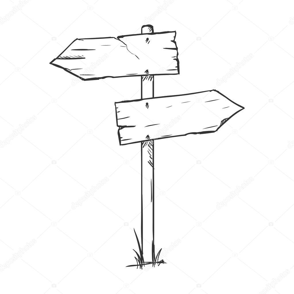 sketch signpost stock vector nikiteev 59819619
