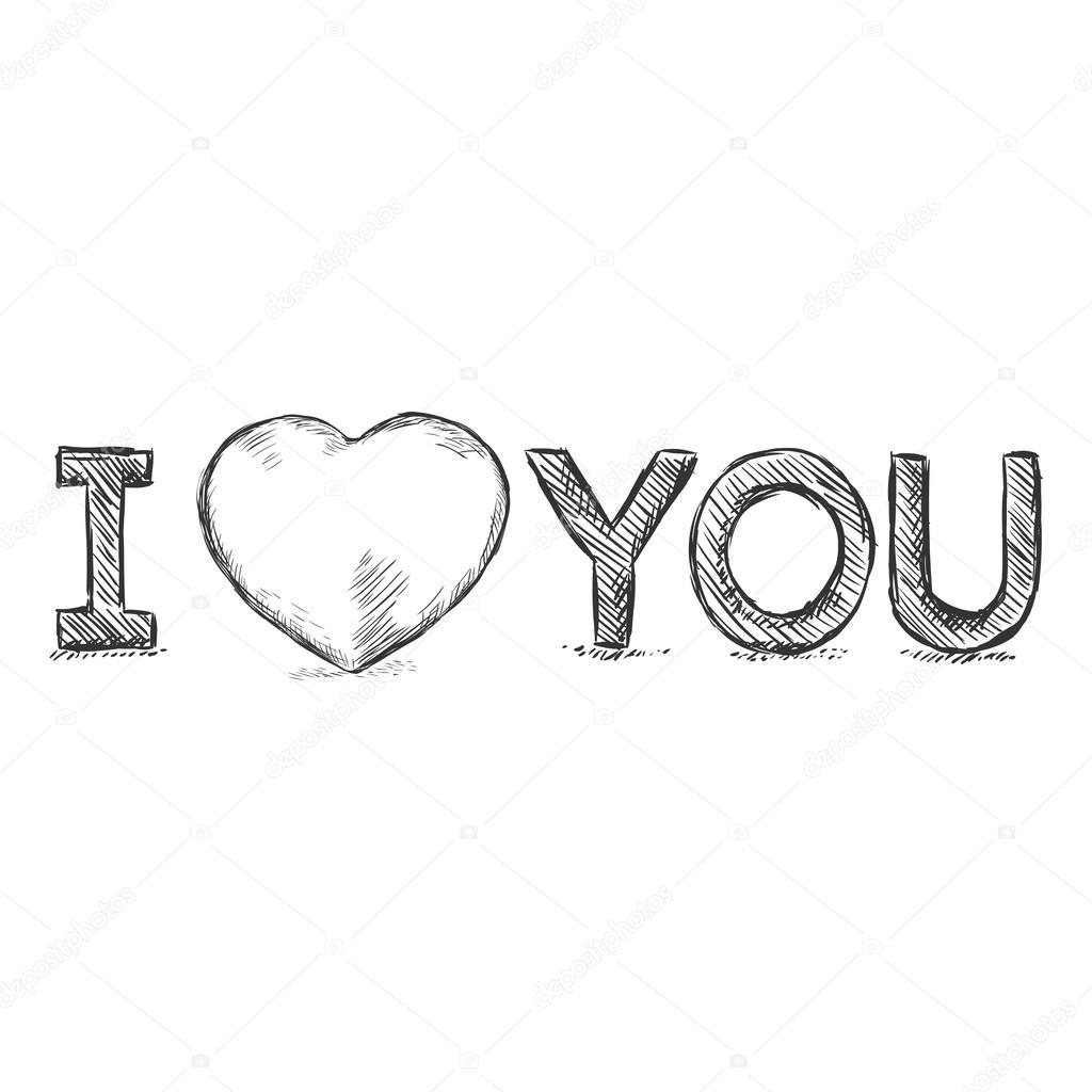 I love you sketch illustration stock vector