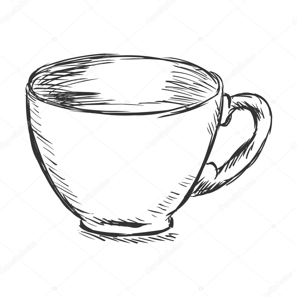 Coffee cup sketch - Single Sketch Cup Of Coffee Stock Vector 63678271