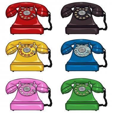 Set of Color Retro Rotary Phones