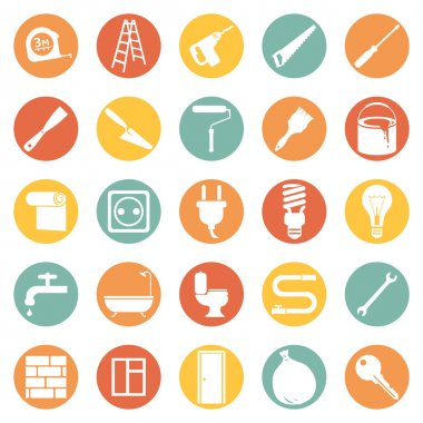 Set of  Construction and Decoration Icons