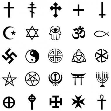 Vector set of religious symbols on white background stock vector