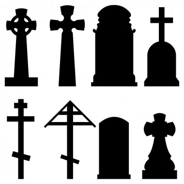 Set of Silhouette Tombstones