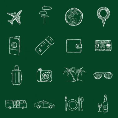 Set of Sketch Travel and Vacation Icons