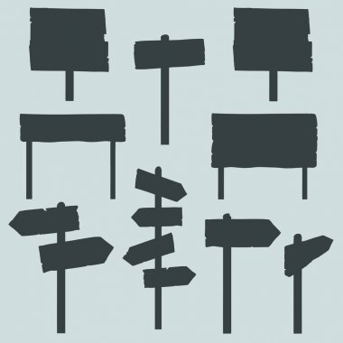 Set of Signposts Silhouettes