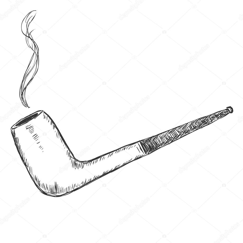 Sketch unique tabac pipe image vectorielle