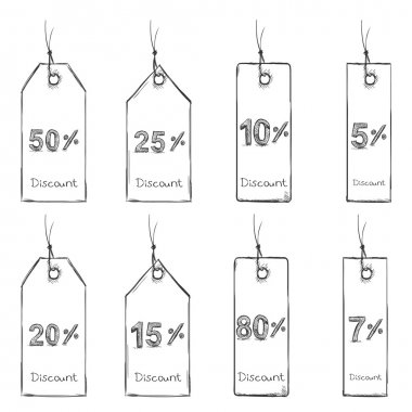 Set of Sketch Discount Tags