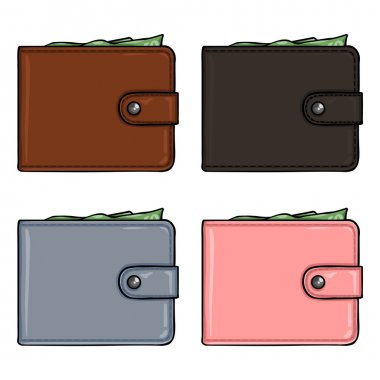 Cartoon Color Leather Wallets.