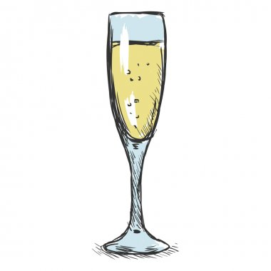 Sketch Glass of Champagne