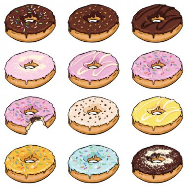 Set of  Color Doughnuts