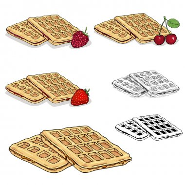 Set of Vector Viennese Waffles