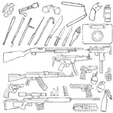Set of Weapons and Equipment