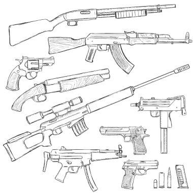 Sketch Set of Firearm Weapons