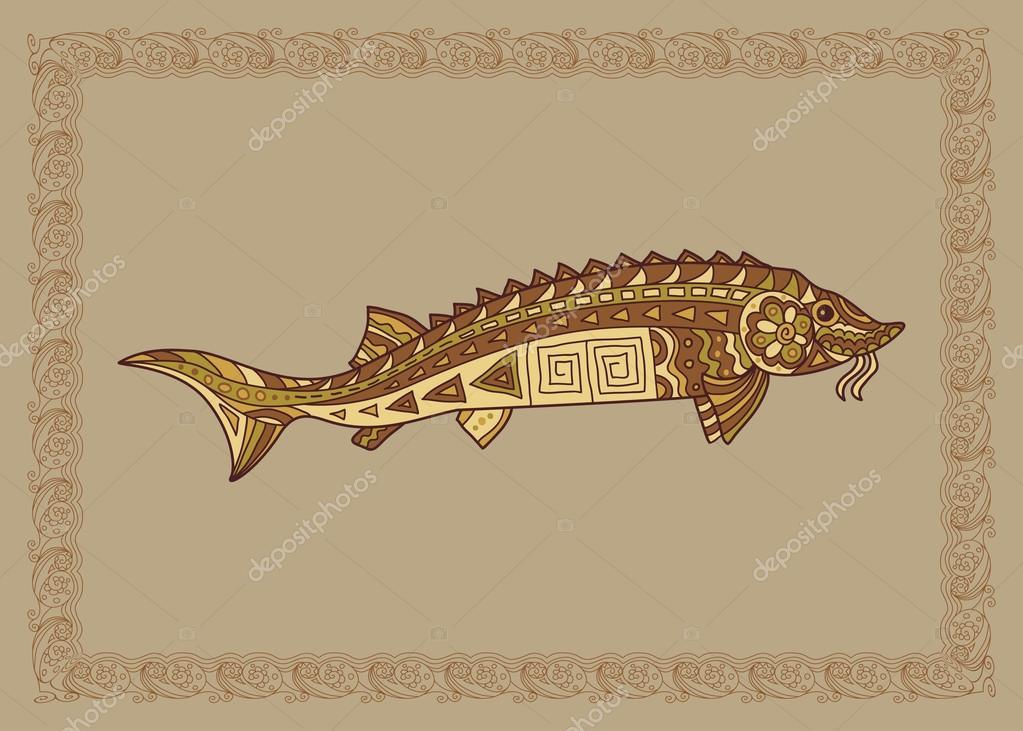 Baikal sturgeon illustration in doodle style. Vector monochrome