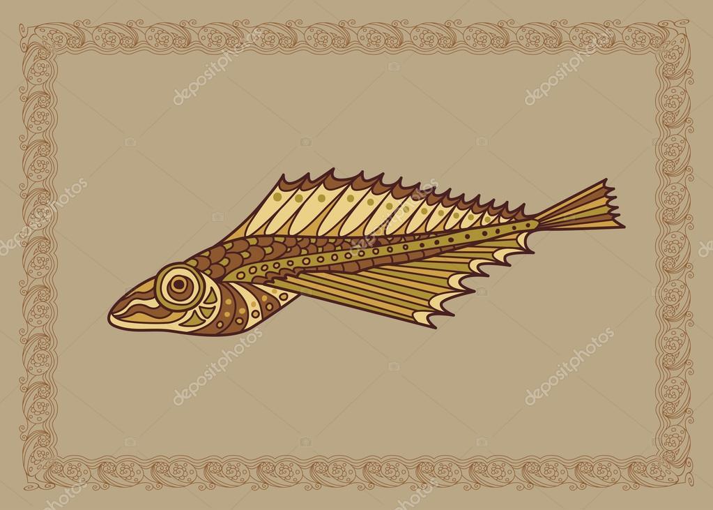 Baikal oilfish golomyanka illustration in doodle style. Vector m
