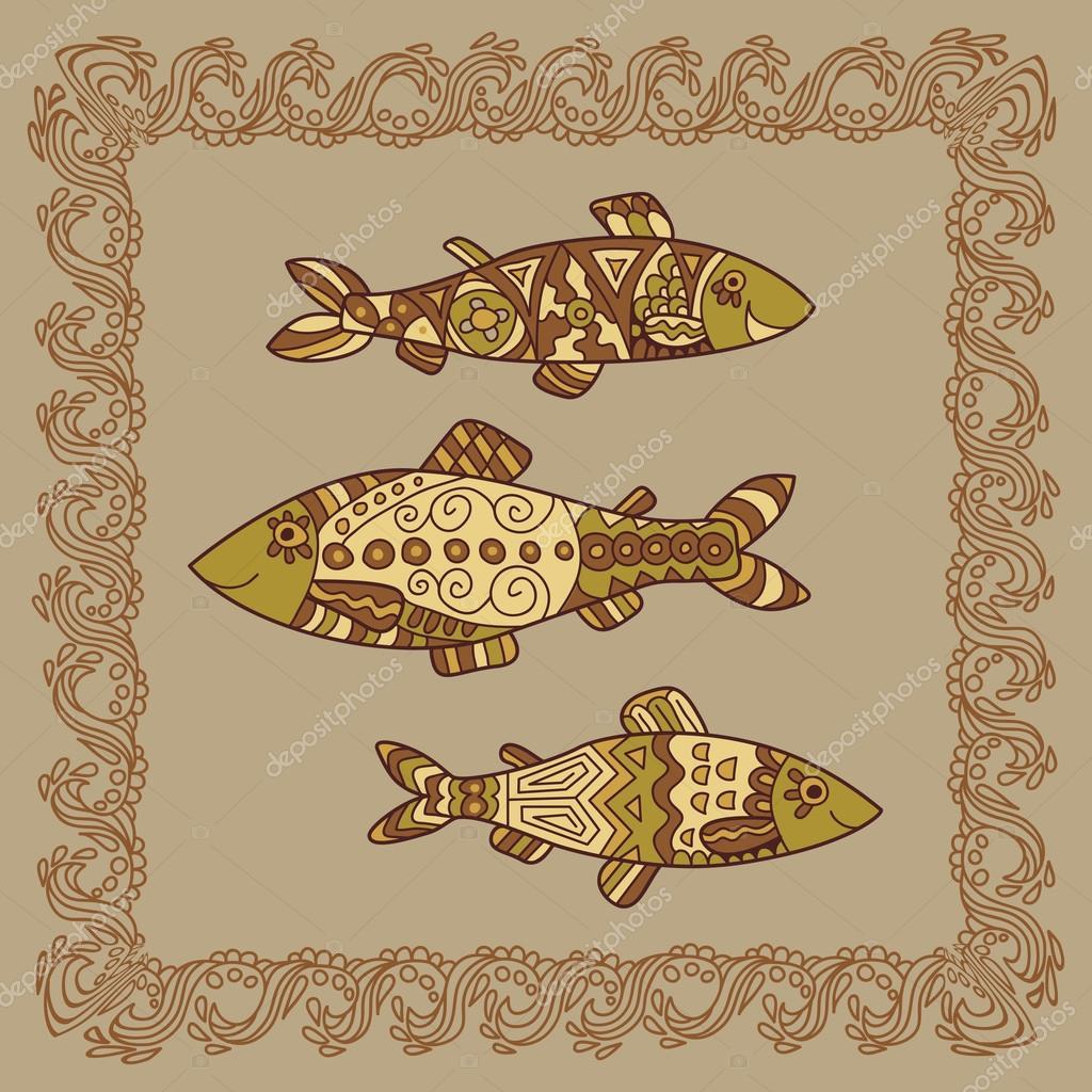 Baikal omul illustration in doodle style. Vector monochrome sket