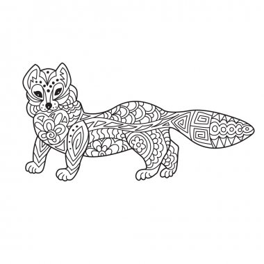 Zentangle the Baikal mustelidae for adult anti stress Coloring P