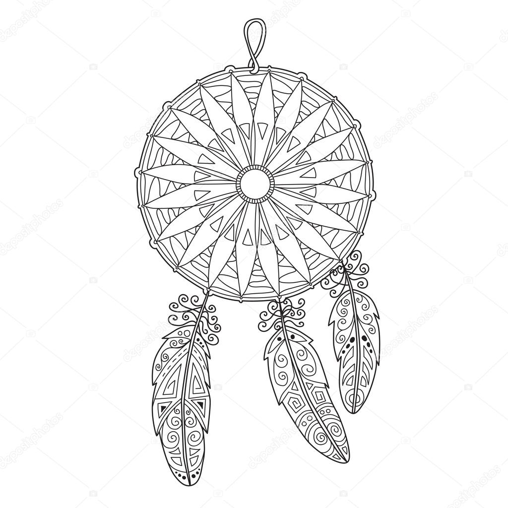 Zentangle dreamcatcher with feathers for adult anti stress Color