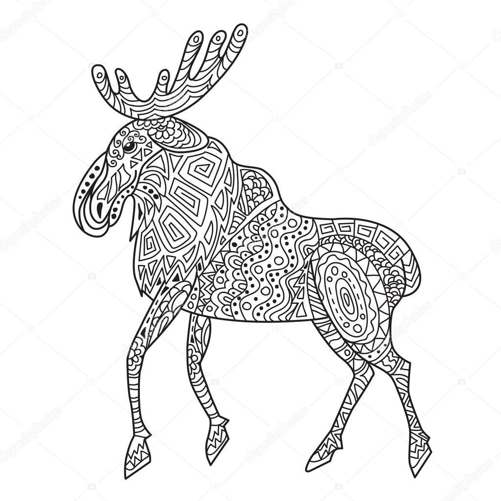 Zentangle the Baikal elk illustration — Stock Vector © Nilmerg ...