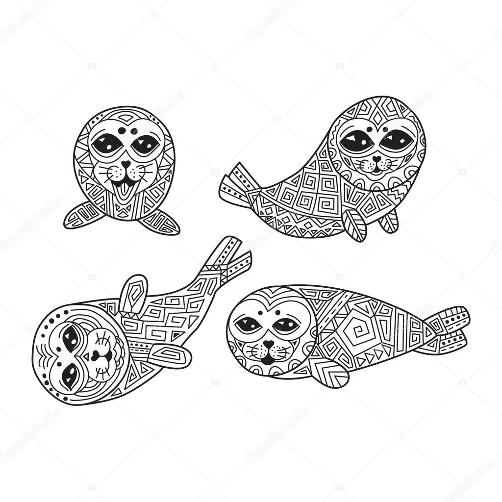 Zentangle the Baikal seals for adult anti stress Coloring Page.